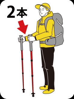 登山にお勧め、ダブルステッキタイプ