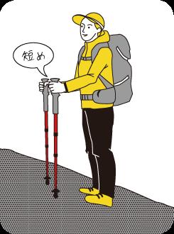 トレッキングポール登りの長さ