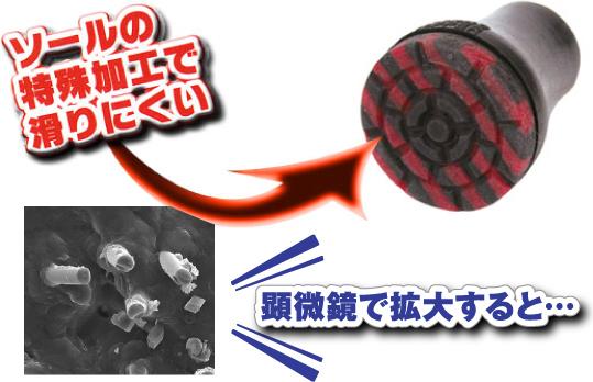 SINANOの杖先ゴムは、ソールの特殊加工で滑りにくい。