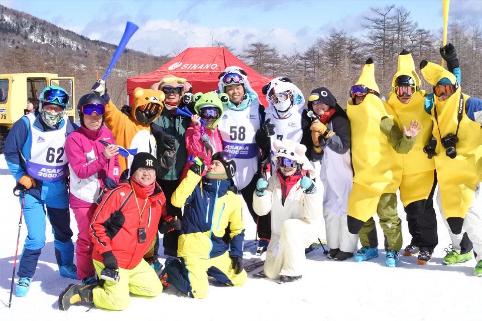 シナノ100周年スキー大会 。応援も盛り上がってる!